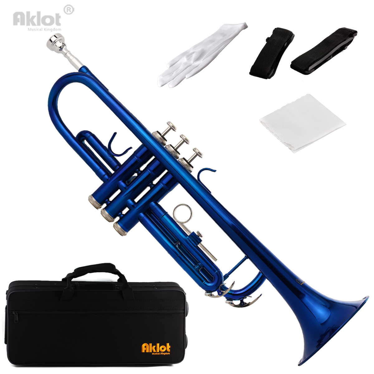 Aklot Bb B Flat Beginner Trumpet with 7C Silver Plated Mouthpiece Blue Lacquered Brass Body for Student Band