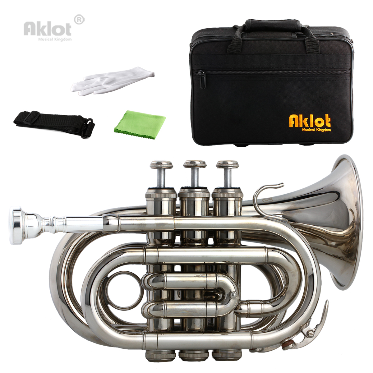 Aklot Bb Mini Pocket Trumpet 7C Silver Plated Mouthpiece Nickel Plated Brass Body with Case