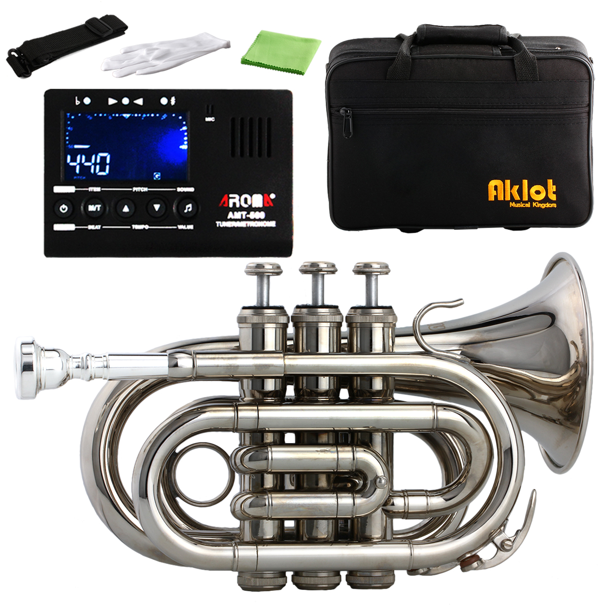 Aklot Bb Mini Pocket Trumpet 7C Silver Plated Mouthpiece Brass Body Nickel Plated with Case and Tuner