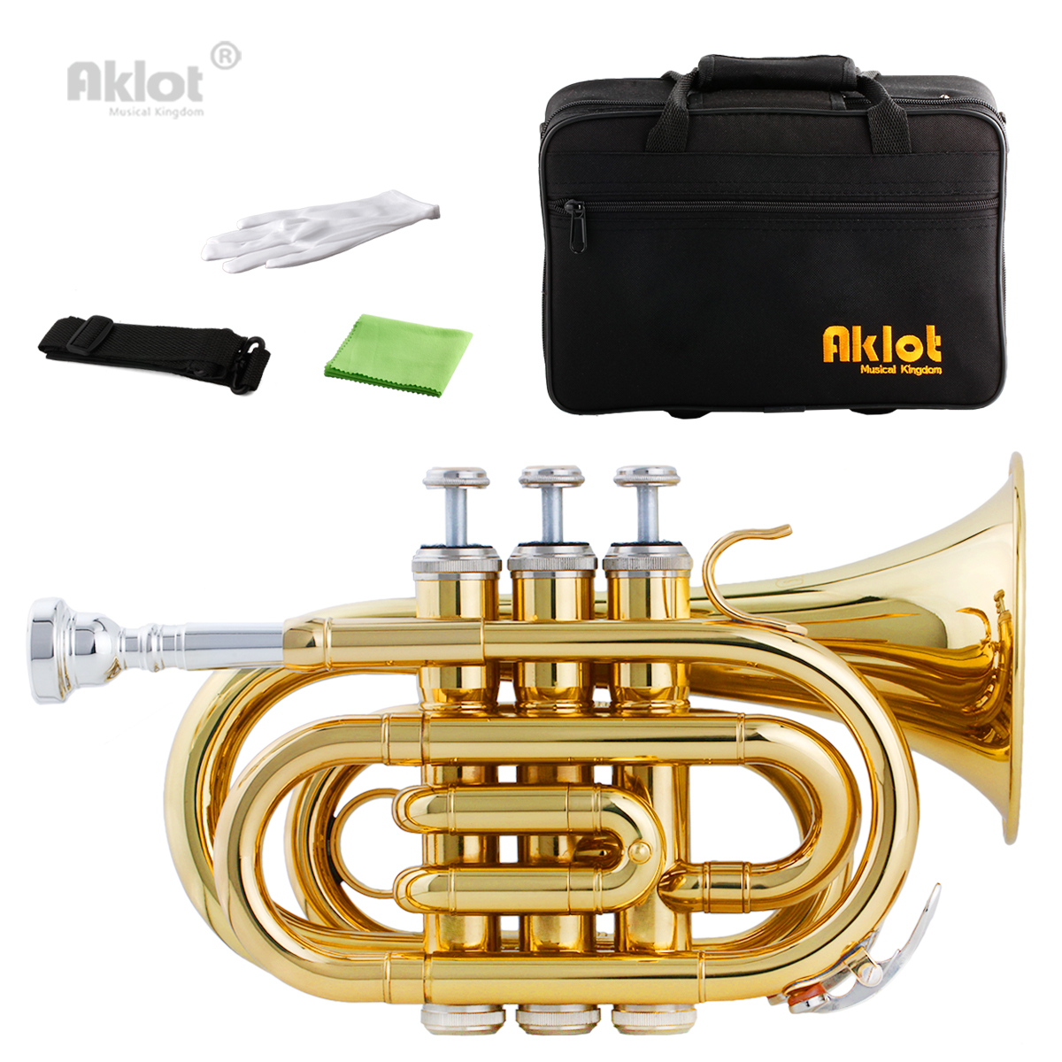 Aklot Bb Mini Pocket Trumpet 7C Silver Plated Mouthpiece Gold Lacquered Brass Body with Case