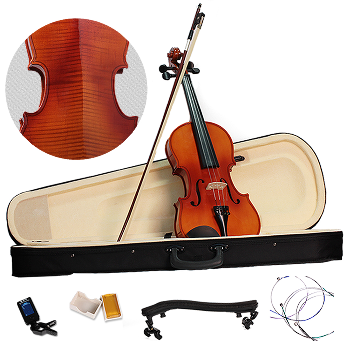 Vioin 4/4 Full Size Acoustic Fiddle Musical Instruments with Case Bow Solid Maple Wood