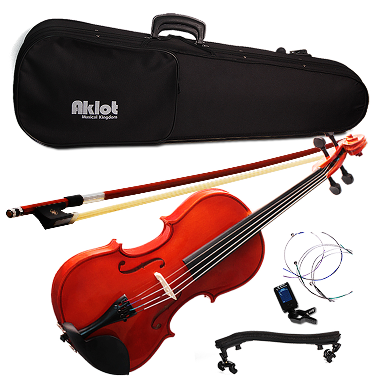Violin 4/4 Full Size Natural Acoustic Fiddle with Case Bow Shoulder Rest Tuner Violin Rosin Wood Musical Instruments