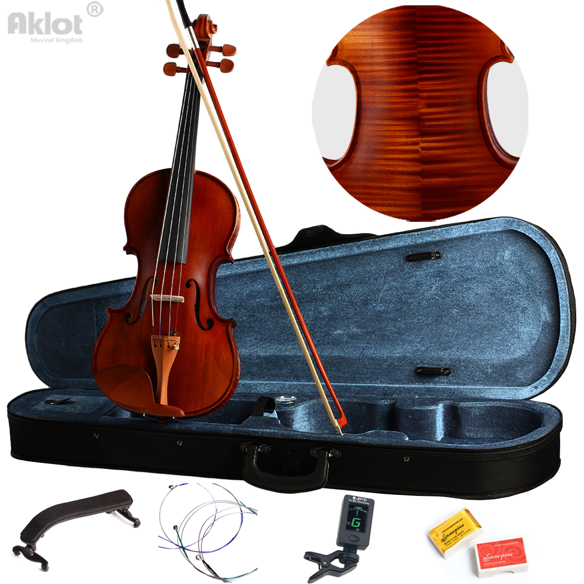 Vilolin 4/4 Full Size Antique Fiddle Natural Acoustic With Case Bow Rosin Solid Wood New