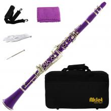 Aklot Bb Beginner Clarinet 17 Keys with Durable Purple ABS Body with Reed Best for Student