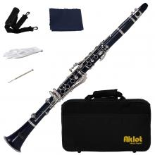 Aklot Bb Beginner Clarinet 17 Keys with Durable Dark Blue ABS Body with Reed Best for Student