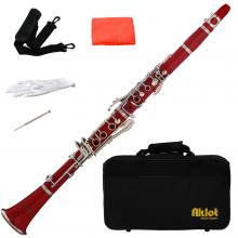 Aklot Bb Beginner Clarinet 17 Keys with Durable Red ABS Body with Reed Best for Student