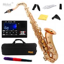 Aklot Bb Gold Beginner Tenor Saxophone Sax Brass...