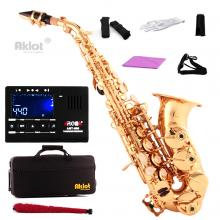 Aklot Gold Bb Curved Soprano Saxophone Sax Brass Body Chromatic Tuner and Case
