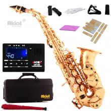 Aklot Bb Curved Soprano Saxophone Sax Gold Lacquered Brass Body with Tuner Reeds