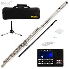 Aklot C Flute Cupronickel Nickel Plated for Student Split E with Stand Tuner Cleaning Kit