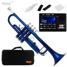 Aklot Bb B Flat Beginner Marching Band Trumpet Brass Body Silver Plated Mouthpiece Blue with Tuner