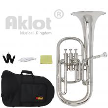 Aklot Intermediate Eb Nickel Alto Horn Silver Plated Mouthpiece Stainless Steel Piston with Case for Musical Education