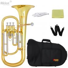 Aklot Professional Bb Baritone Horn Cupronickel Tuning Pipe Gold Brass Leadpipe Silver Plated Mouthpiece Gold Lacquered