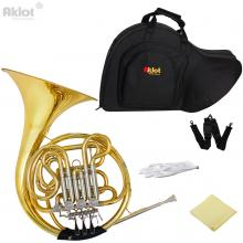 Aklot Professional Bb/F 4 Key Double French Horn Cupronickel Tuning Pipe Gold with Case for Music Grading Play and Orche