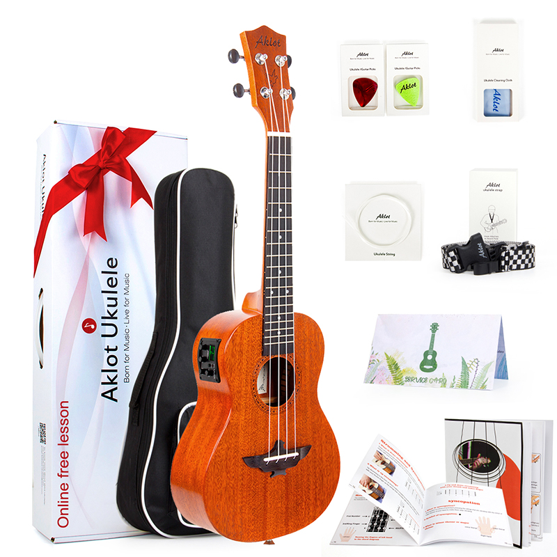 Electric Tenor Ukulele Solid Mahogany Starter Kit Ukelele Uke Hawaii Guitar 18 Frets 26 inch 18 : 1 Copper Tuner