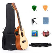 Kmise Electric Ukulele Solid Spruce Concert Ukelele 23 Inch Uke Hawaii Guitar with Professional Guitar Cable and Starter