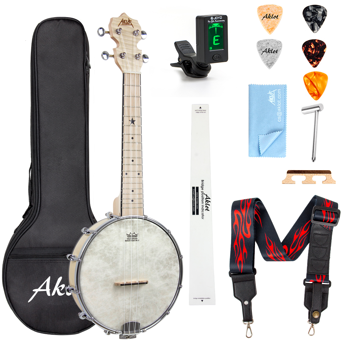 AKLOT Banjo Ukulele Concert 23 inch Remo Drumhead Open Back Maple Body 1:18 Advanced Tuner with Tow Way Truss Rod Gig Ba
