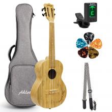 AKLOT Tenor Ukulele All Bamboo Ukelele 26 inch AKBT26 18 frets 18:1 Advanced Tuner Machine w/ Gig Bag Strap Picks